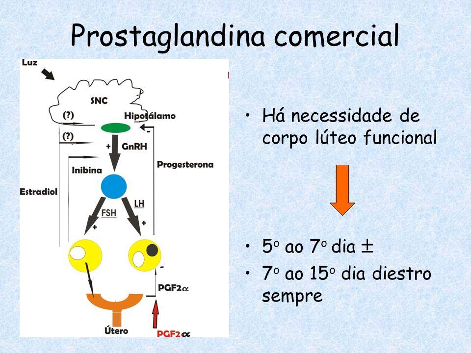 Prostaglandina comercial Há necessidade de corpo lúteo funcional 5 o ao 7 o dia 7 o ao 15 o dia diestro sempre
