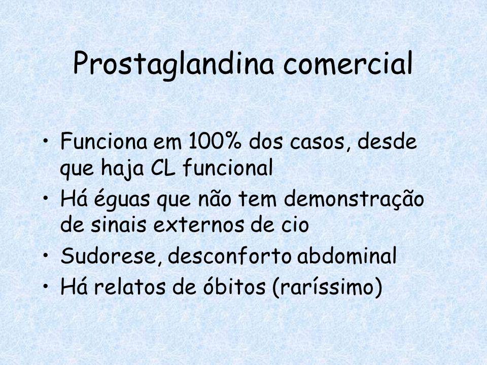 Prostaglandina comercial Funciona em 100% dos casos, desde que haja CL funcional Há éguas que não tem demonstração de sinais externos de cio Sudorese,