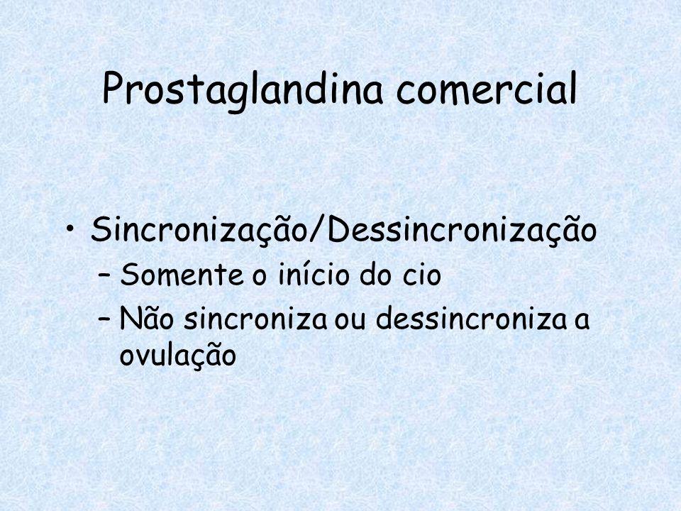 Prostaglandina comercial Sincronização/Dessincronização –Somente o início do cio –Não sincroniza ou dessincroniza a ovulação