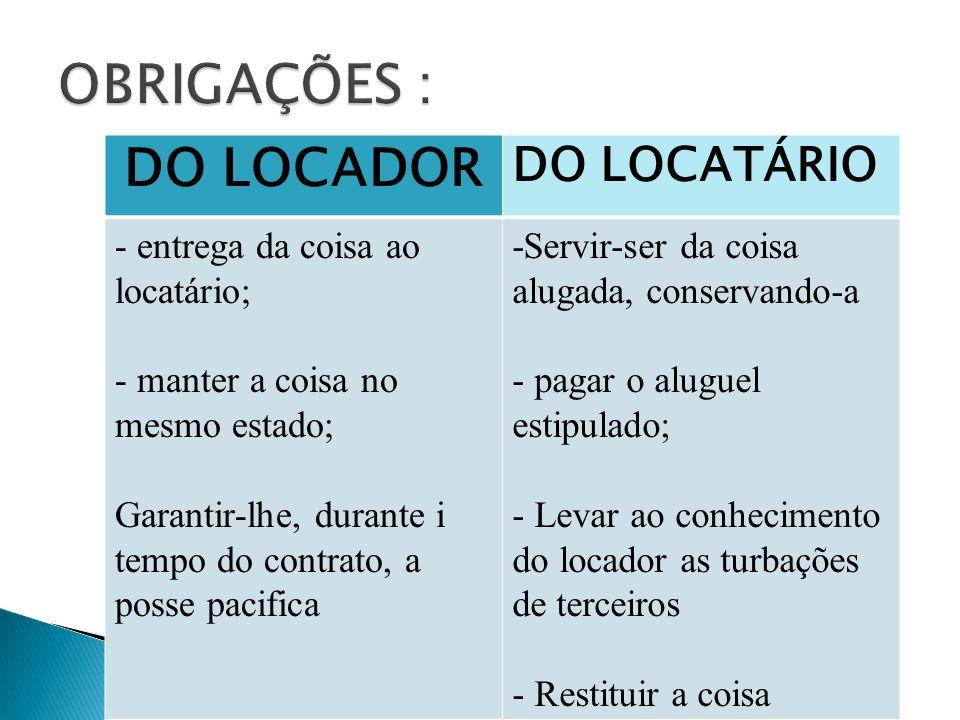 DO LOCADOR DO LOCATÁRIO - entrega da coisa ao locatário; - manter a coisa no mesmo estado; Garantir-lhe, durante i tempo do contrato, a posse pacifica