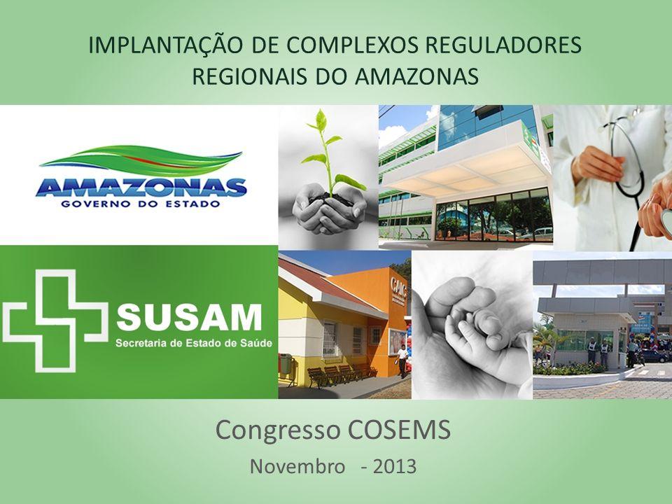 IMPLANTAÇÃO DE COMPLEXOS REGULADORES REGIONAIS DO AMAZONAS Congresso COSEMS Novembro - 2013