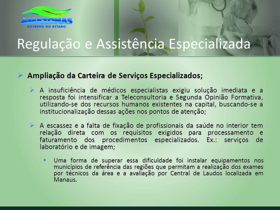 Regulação e Assistência Especializada Ampliação da Carteira de Serviços Especializados; Ampliação da Carteira de Serviços Especializados; A insuficiên