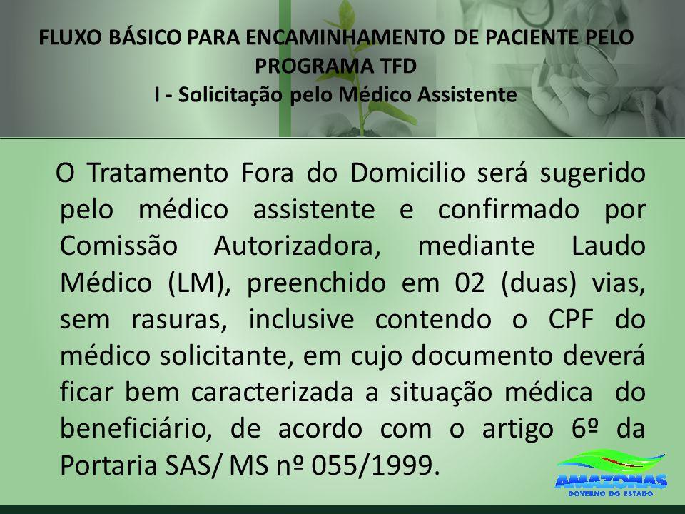 FLUXO BÁSICO PARA ENCAMINHAMENTO DE PACIENTE PELO PROGRAMA TFD I - Solicitação pelo Médico Assistente O Tratamento Fora do Domicilio será sugerido pel