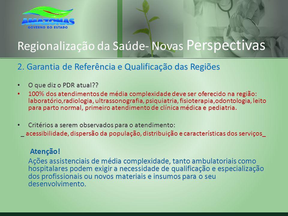 Regionalização da Saúde- Novas Perspectivas 2. Garantia de Referência e Qualificação das Regiões O que diz o PDR atual?? O que diz o PDR atual?? 100%