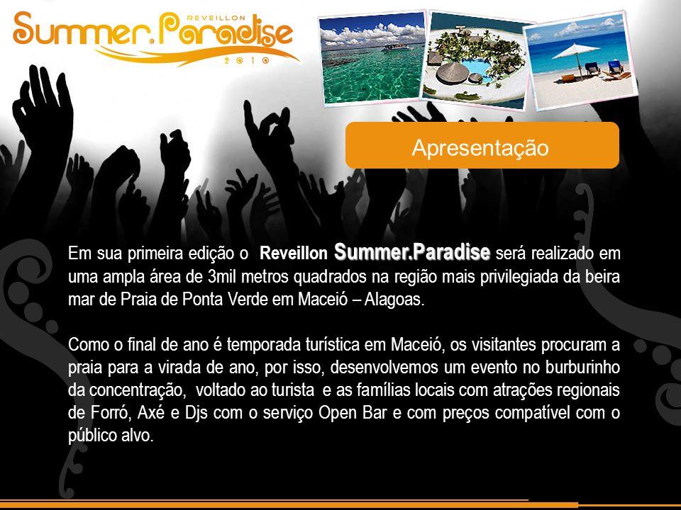 Apresentação Summer.Paradise Em sua primeira edição o Reveillon Summer.Paradise será realizado em uma ampla área de 3mil metros quadrados na região mais privilegiada da beira mar de Praia de Ponta Verde em Maceió – Alagoas.