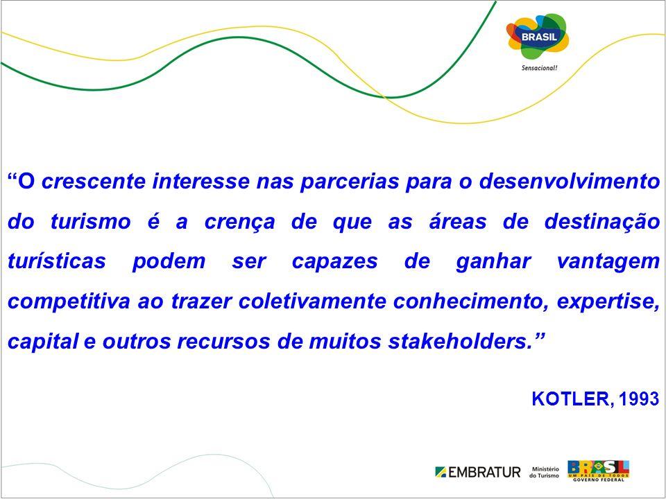O crescente interesse nas parcerias para o desenvolvimento do turismo é a crença de que as áreas de destinação turísticas podem ser capazes de ganhar