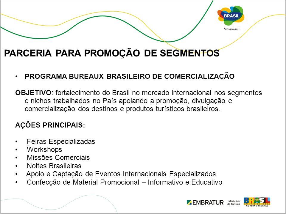 PARCERIA PARA PROMOÇÃO DE SEGMENTOS PROGRAMA BUREAUX BRASILEIRO DE COMERCIALIZAÇÃO OBJETIVO: fortalecimento do Brasil no mercado internacional nos seg