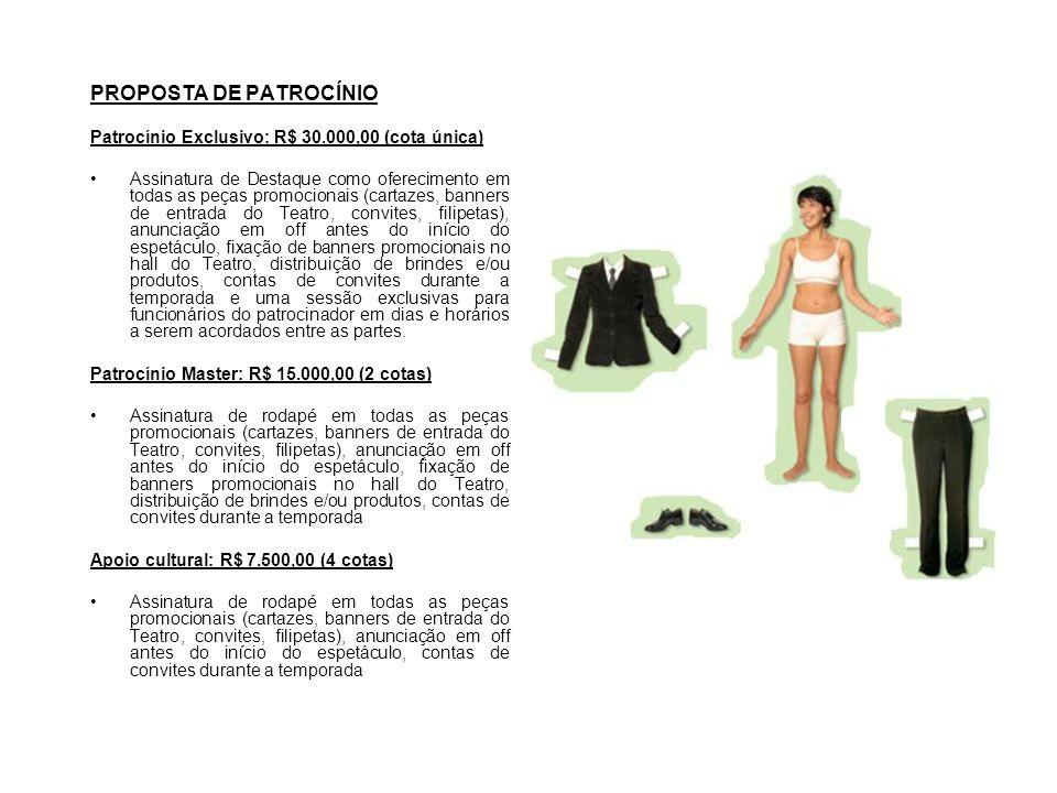 PROPOSTA DE PATROCÍNIO Patrocínio Exclusivo: R$ 30.000,00 (cota única) Assinatura de Destaque como oferecimento em todas as peças promocionais (cartaz