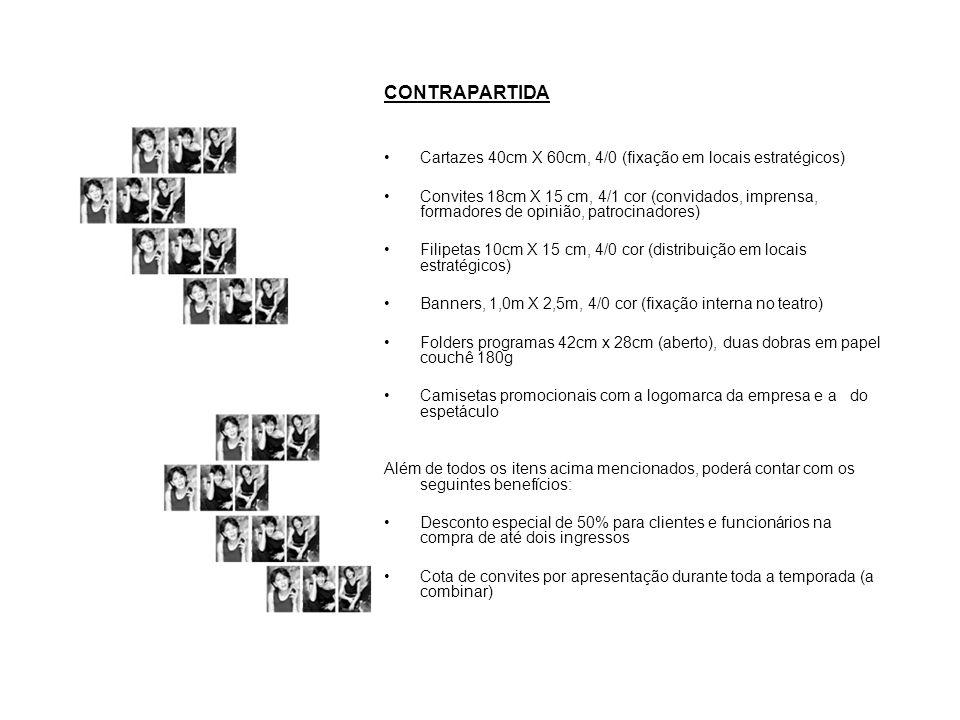 CONTRAPARTIDA Cartazes 40cm X 60cm, 4/0 (fixação em locais estratégicos) Convites 18cm X 15 cm, 4/1 cor (convidados, imprensa, formadores de opinião,
