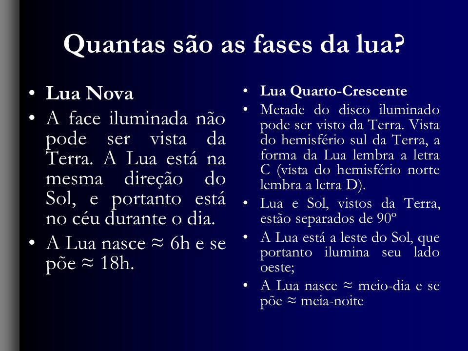 Quantas são as fases da lua? Lua Nova A face iluminada não pode ser vista da Terra. A Lua está na mesma direção do Sol, e portanto está no céu durante