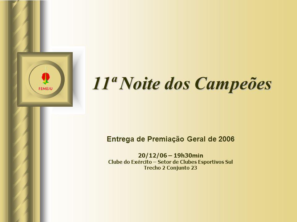 11ª Noite dos Campeões Entrega de Premiação Geral de 2006 20/12/06 – 19h30min Clube do Exército – Setor de Clubes Esportivos Sul Trecho 2 Conjunto 23