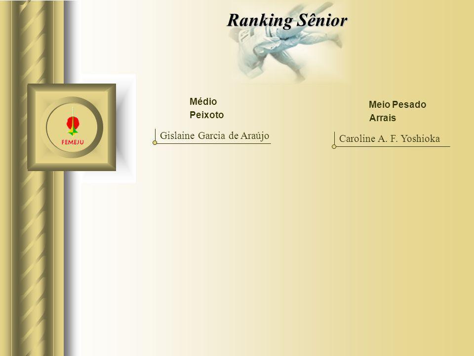 Ranking Sênior Médio Gislaine Garcia de Araújo Meio Pesado Caroline A. F. Yoshioka Peixoto Arrais