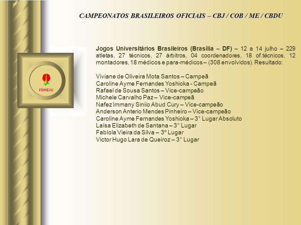 CAMPEONATOS BRASILEIROS OFICIAIS – CBJ / COB / ME / CBDU Jogos Universitários Brasileiros (Brasília – DF) – 12 a 14 julho – 229 atletas, 27 técnicos,