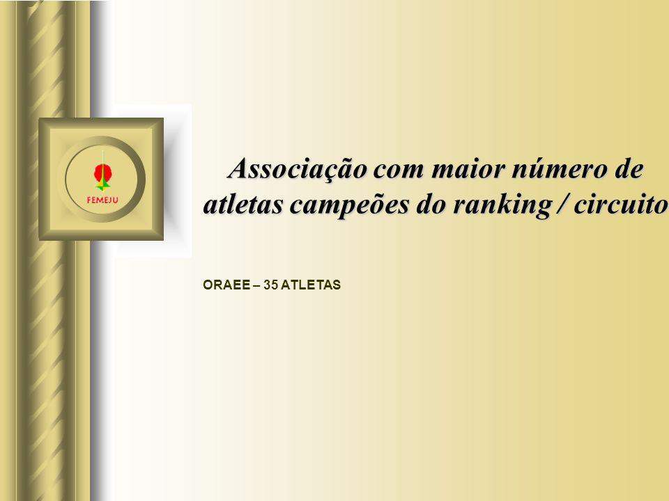 Associação com maior número de atletas campeões do ranking / circuito ORAEE – 35 ATLETAS