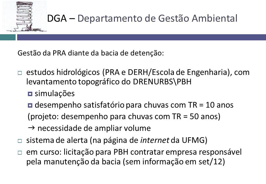 Gestão da PRA diante da bacia de detenção: estudos hidrológicos (PRA e DERH/Escola de Engenharia), com levantamento topográfico do DRENURBS\PBH simula