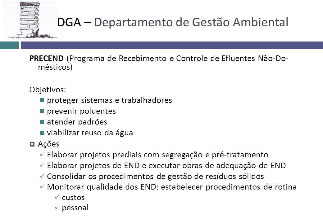 PRECEND (Programa de Recebimento e Controle de Efluentes Não-Do- mésticos) Objetivos: proteger sistemas e trabalhadores prevenir poluentes atender pad
