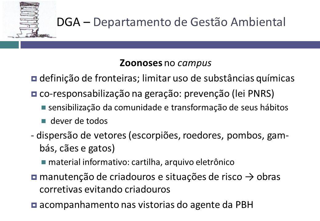 Zoonoses no campus definição de fronteiras; limitar uso de substâncias químicas co-responsabilização na geração: prevenção (lei PNRS) sensibilização d