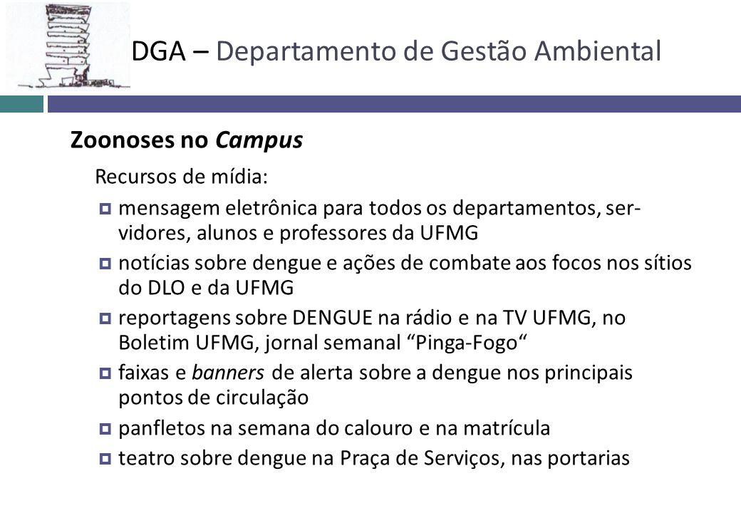 Zoonoses no Campus Recursos de mídia: mensagem eletrônica para todos os departamentos, ser- vidores, alunos e professores da UFMG notícias sobre dengu