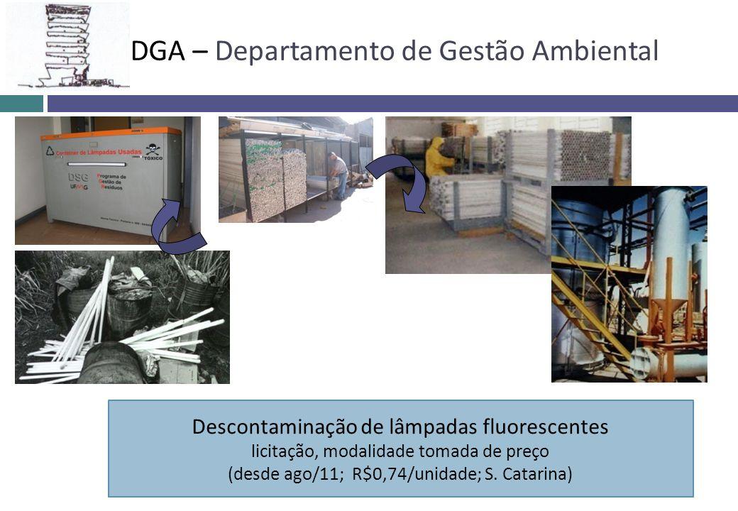 Descontaminação de lâmpadas fluorescentes licitação, modalidade tomada de preço (desde ago/11; R$0,74/unidade; S. Catarina) DGA – Departamento de Gest