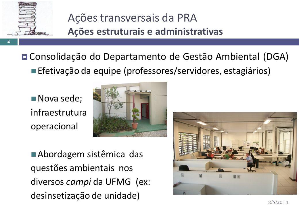 Ações transversais da PRA Ações estruturais e administrativas 8/5/2014 4 Consolidação do Departamento de Gestão Ambiental (DGA) Efetivação da equipe (