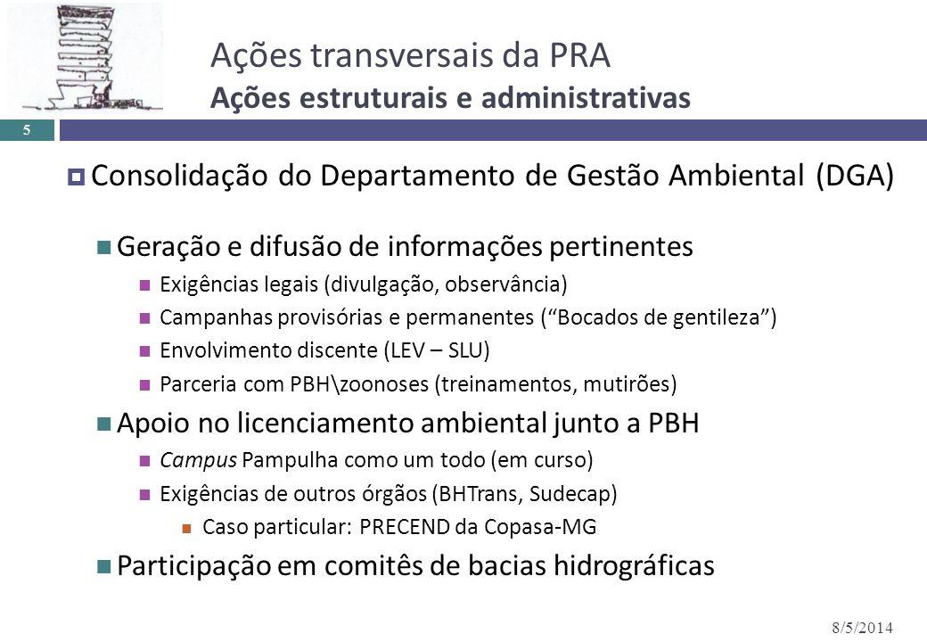 Ações transversais da PRA Ações estruturais e administrativas 8/5/2014 5 Consolidação do Departamento de Gestão Ambiental (DGA) Geração e difusão de i