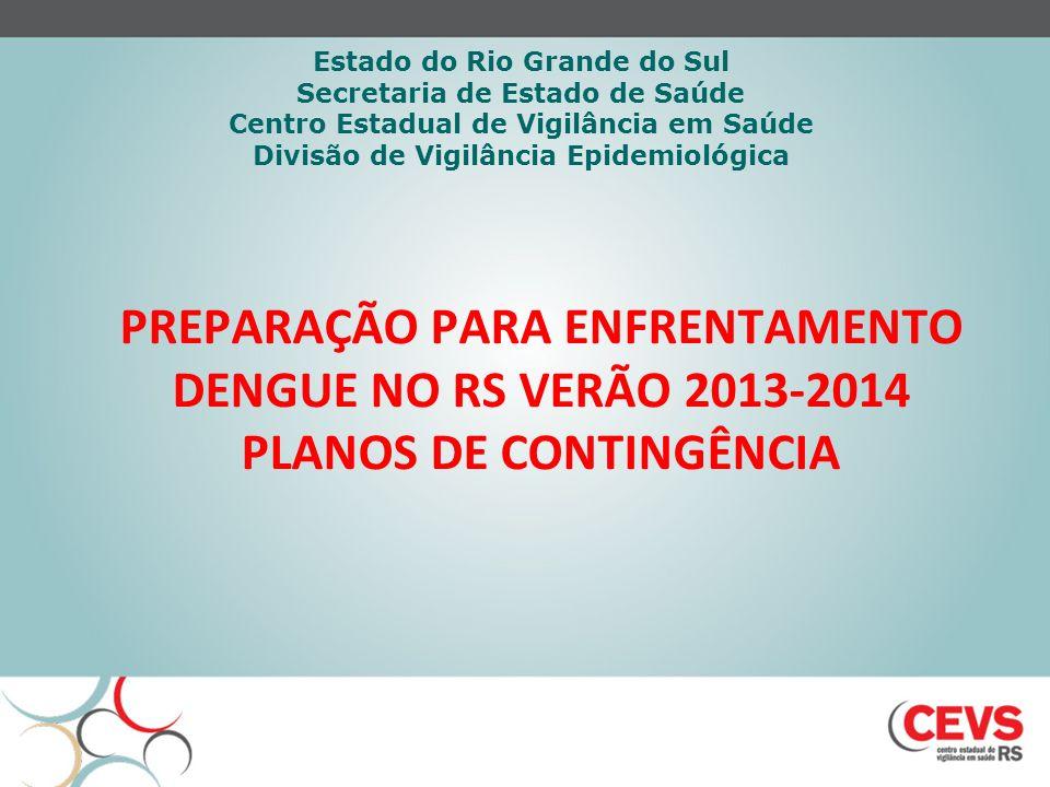 PREPARAÇÃO PARA ENFRENTAMENTO DENGUE NO RS VERÃO 2013-2014 PLANOS DE CONTINGÊNCIA Estado do Rio Grande do Sul Secretaria de Estado de Saúde Centro Est