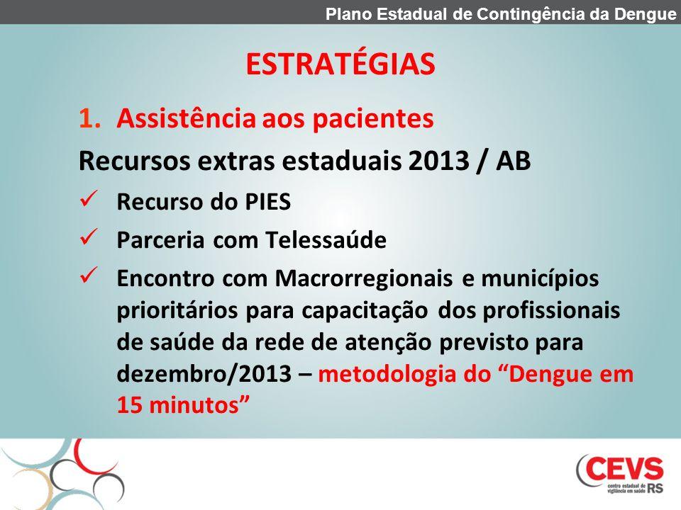 ESTRATÉGIAS 1.Assistência aos pacientes Recursos extras estaduais 2013 / AB Recurso do PIES Parceria com Telessaúde Encontro com Macrorregionais e mun