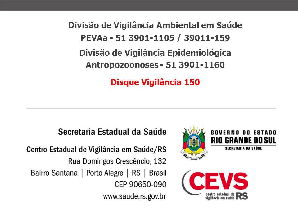 Divisão de Vigilância Ambiental em Saúde PEVAa - 51 3901-1105 / 39011-159 Divisão de Vigilância Epidemiológica Antropozoonoses - 51 3901-1160 Disque V