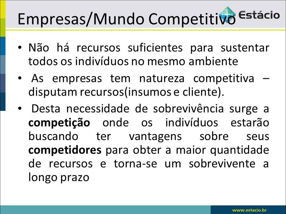 Empresas/Mundo Competitivo Não há recursos suficientes para sustentar todos os indivíduos no mesmo ambiente As empresas tem natureza competitiva – dis
