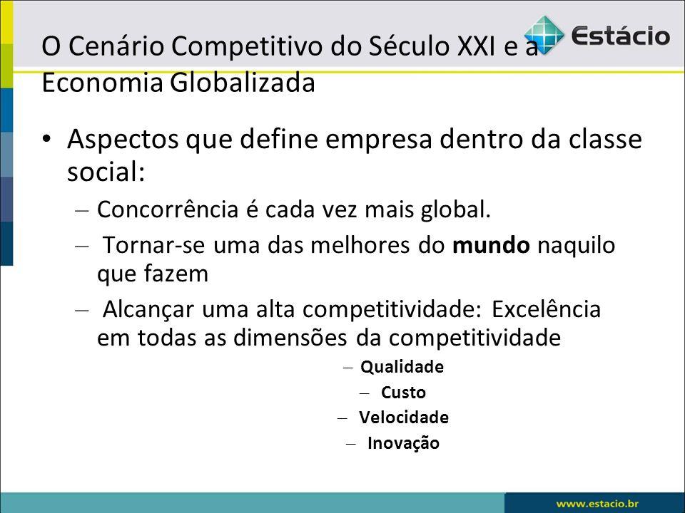 O Cenário Competitivo do Século XXI e a Economia Globalizada Aspectos que define empresa dentro da classe social: – Concorrência é cada vez mais globa