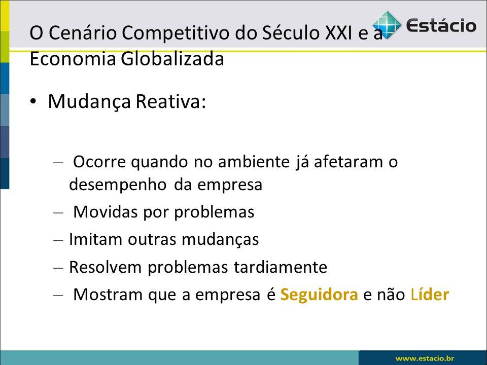 O Cenário Competitivo do Século XXI e a Economia Globalizada Mudança Reativa: – Ocorre quando no ambiente já afetaram o desempenho da empresa – Movida
