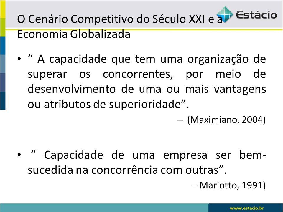 O Cenário Competitivo do Século XXI e a Economia Globalizada A capacidade que tem uma organização de superar os concorrentes, por meio de desenvolvime