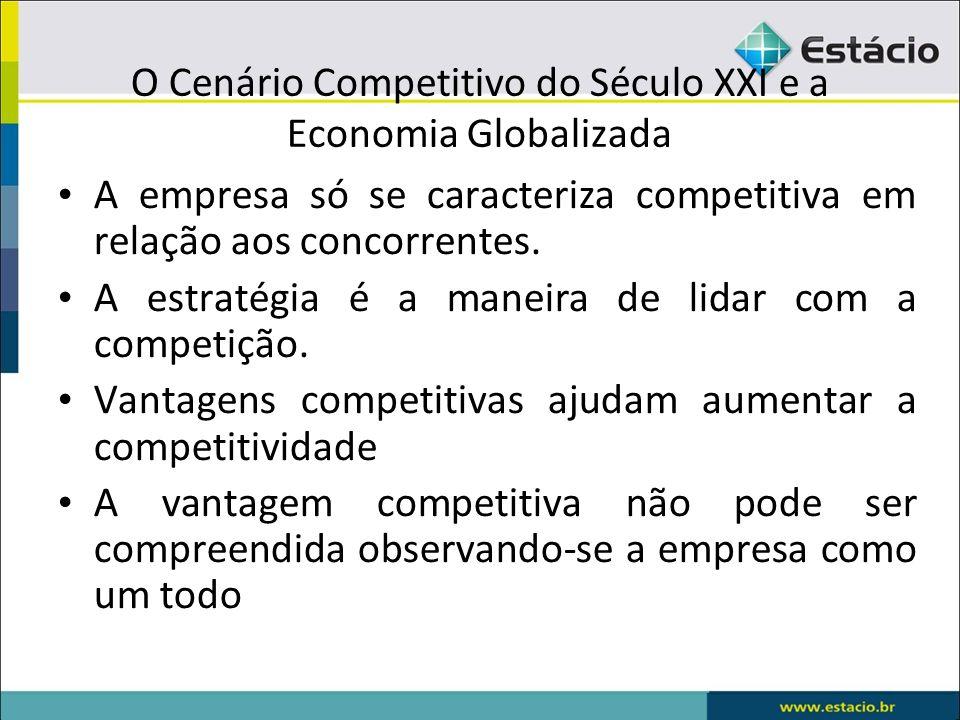 O Cenário Competitivo do Século XXI e a Economia Globalizada A empresa só se caracteriza competitiva em relação aos concorrentes. A estratégia é a man