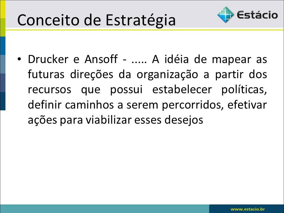 Conceito de Estratégia Drucker e Ansoff -..... A idéia de mapear as futuras direções da organização a partir dos recursos que possui estabelecer polít