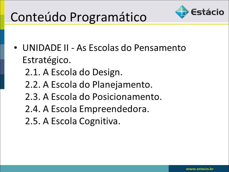 Conteúdo Programático UNIDADE II - As Escolas do Pensamento Estratégico. 2.1. A Escola do Design. 2.2. A Escola do Planejamento. 2.3. A Escola do Posi