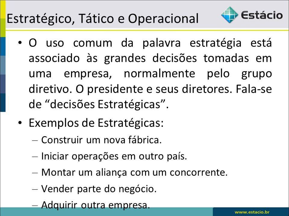 Estratégico, Tático e Operacional O uso comum da palavra estratégia está associado às grandes decisões tomadas em uma empresa, normalmente pelo grupo