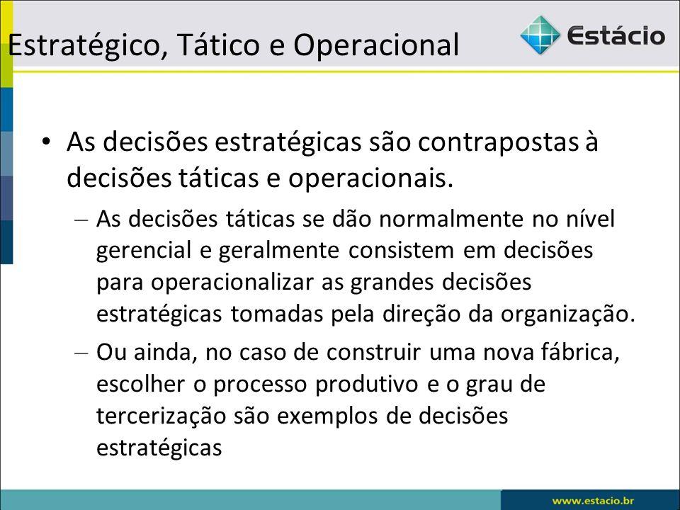 Estratégico, Tático e Operacional As decisões estratégicas são contrapostas à decisões táticas e operacionais. – As decisões táticas se dão normalment