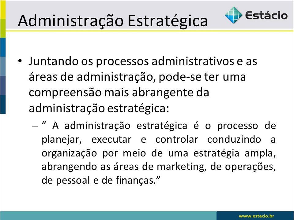 Juntando os processos administrativos e as áreas de administração, pode-se ter uma compreensão mais abrangente da administração estratégica: – A admin