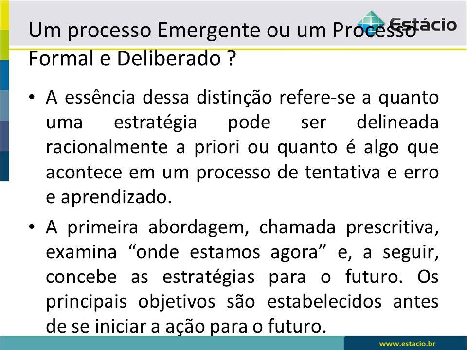 Um processo Emergente ou um Processo Formal e Deliberado ? A essência dessa distinção refere-se a quanto uma estratégia pode ser delineada racionalmen