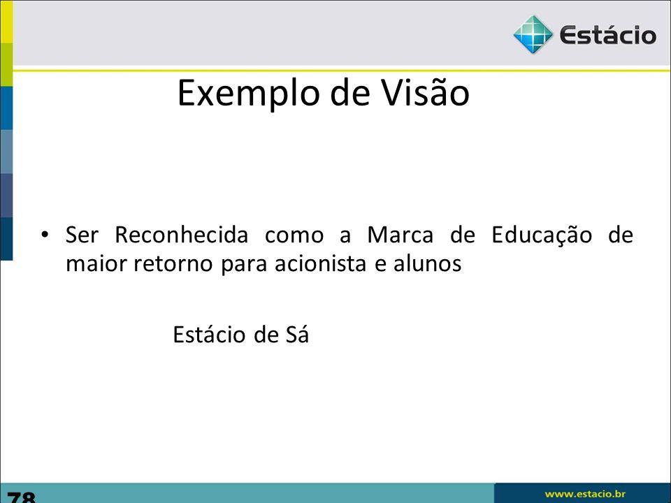 78 Exemplo de Visão Ser Reconhecida como a Marca de Educação de maior retorno para acionista e alunos Estácio de Sá