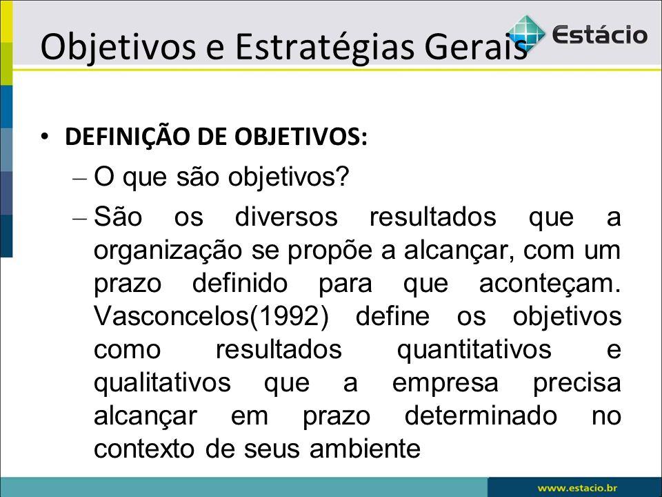 Objetivos e Estratégias Gerais DEFINIÇÃO DE OBJETIVOS: – O que são objetivos? – São os diversos resultados que a organização se propõe a alcançar, com
