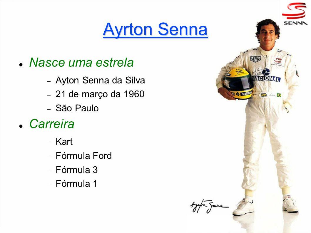Nasce uma estrela Ayton Senna da Silva 21 de março da 1960 São Paulo Carreira Kart Fórmula Ford Fórmula 3 Fórmula 1 Ayrton Senna