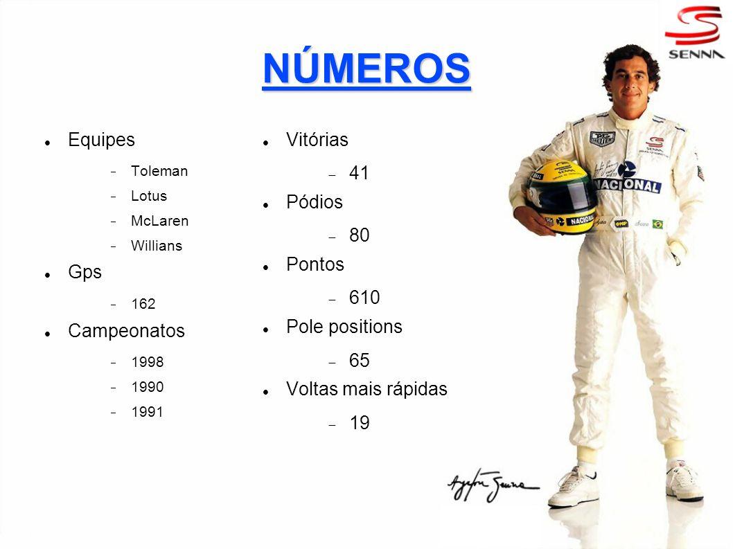 NÚMEROS Equipes Toleman Lotus McLaren Willians Gps 162 Campeonatos 1998 1990 1991 Vitórias 41 Pódios 80 Pontos 610 Pole positions 65 Voltas mais rápid