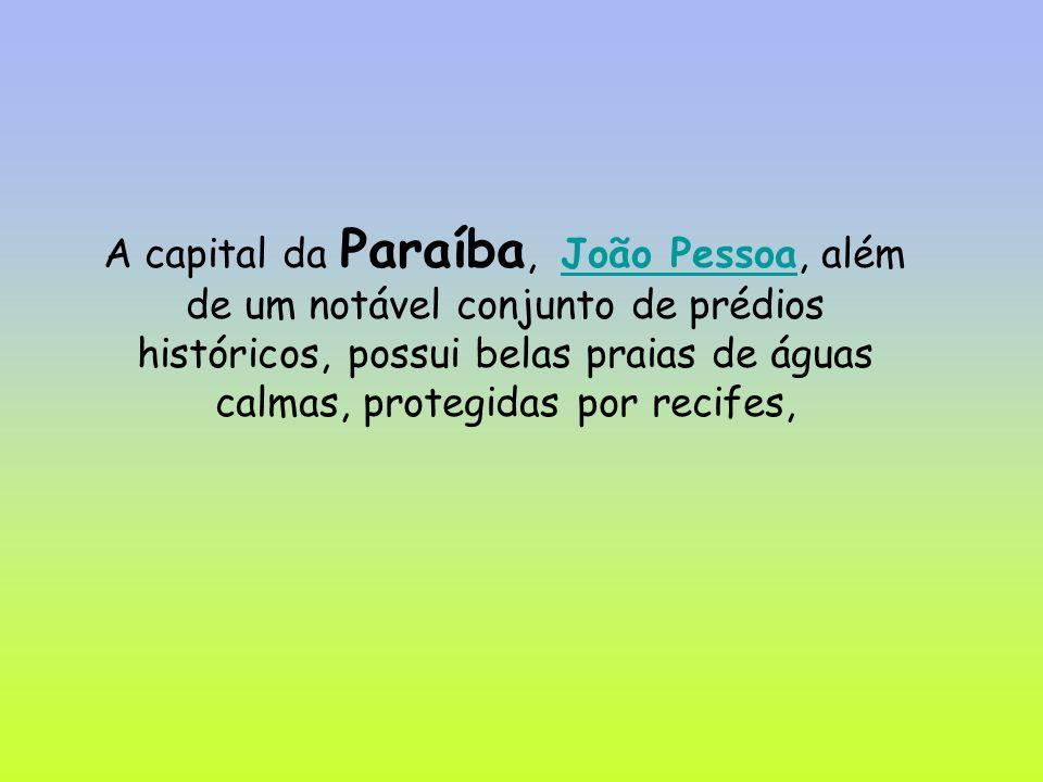 A capital da Paraíba, João Pessoa, além de um notável conjunto de prédios históricos, possui belas praias de águas calmas, protegidas por recifes,João