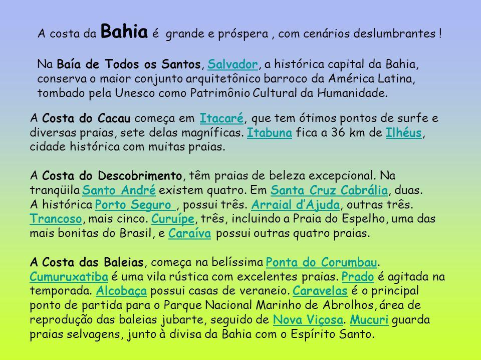 A costa da Bahia é grande e próspera, com cenários deslumbrantes ! Na Baía de Todos os Santos, Salvador, a histórica capital da Bahia, conserva o maio
