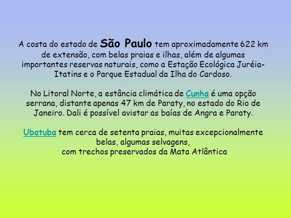 A costa do estado de São Paulo tem aproximadamente 622 km de extensão, com belas praias e ilhas, além de algumas importantes reservas naturais, como a Estação Ecológica Juréia- Itatins e o Parque Estadual da Ilha do Cardoso.