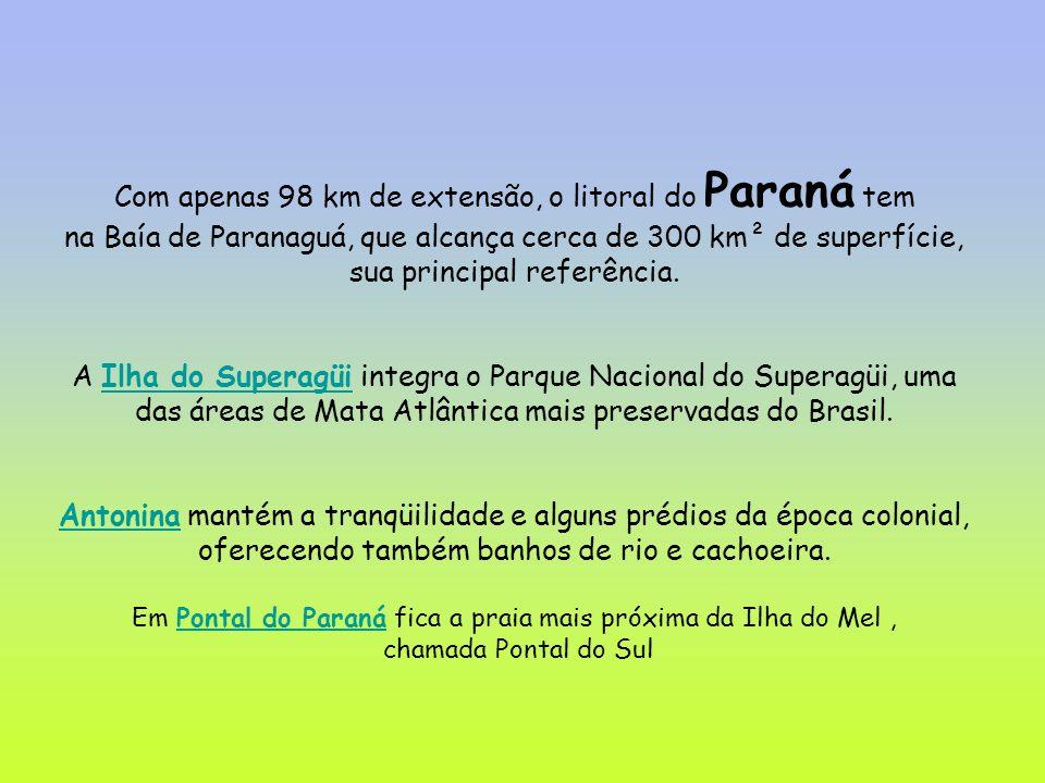 Com apenas 98 km de extensão, o litoral do Paraná tem na Baía de Paranaguá, que alcança cerca de 300 km² de superfície, sua principal referência.