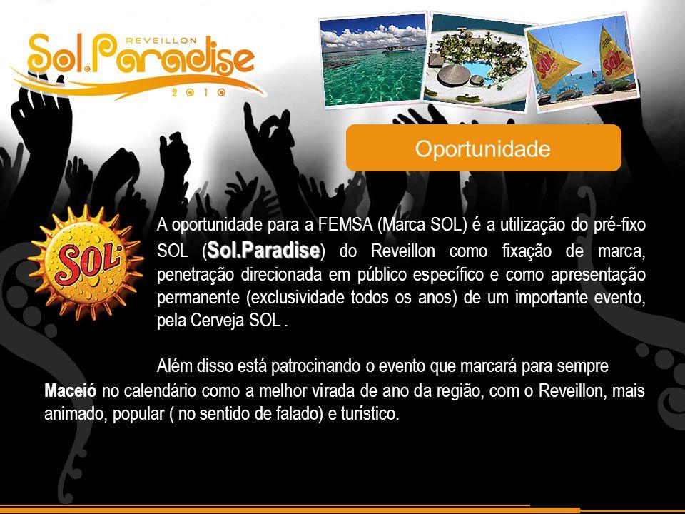 Sol.Paradise A oportunidade para a FEMSA (Marca SOL) é a utilização do pré-fixo SOL ( Sol.Paradise ) do Reveillon como fixação de marca, penetração di