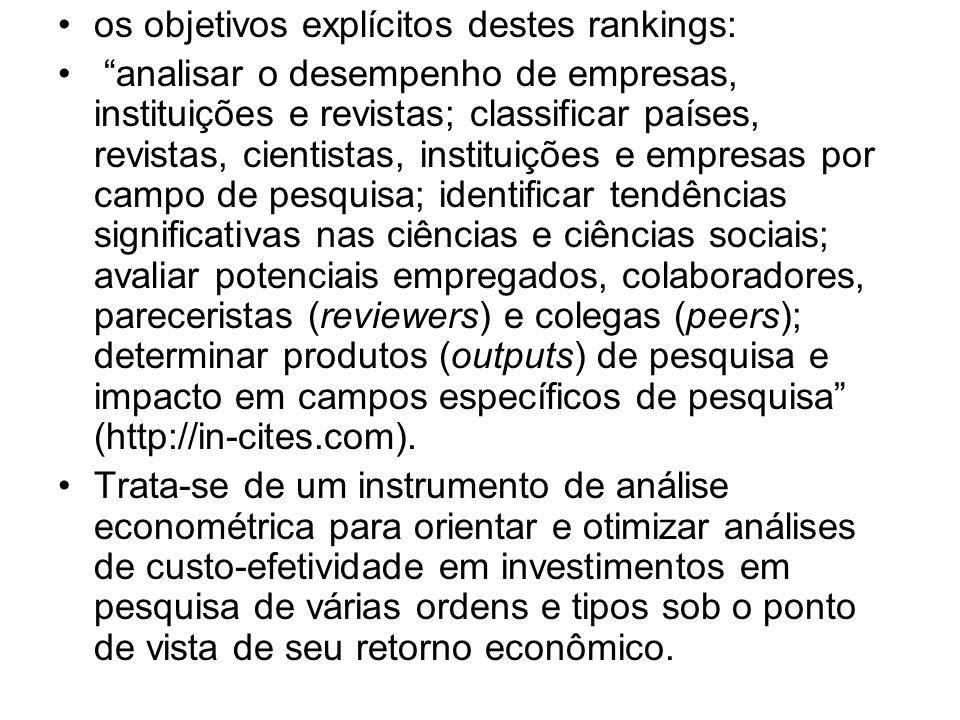 os objetivos explícitos destes rankings: analisar o desempenho de empresas, instituições e revistas; classificar países, revistas, cientistas, institu
