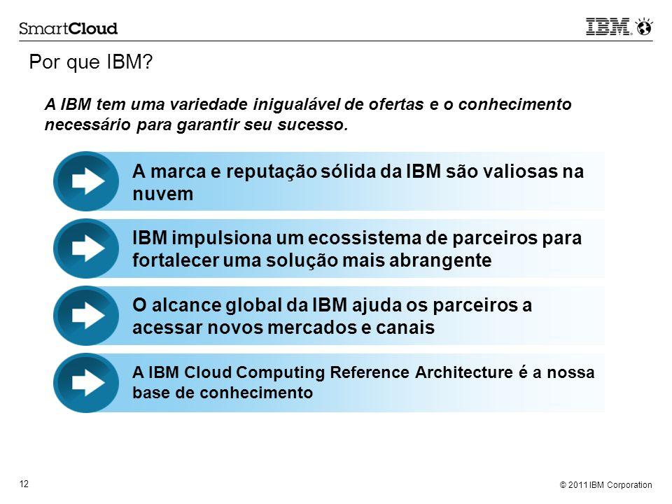 © 2011 IBM Corporation 12 Por que IBM? A marca e reputação sólida da IBM são valiosas na nuvem A IBM tem uma variedade inigualável de ofertas e o conh